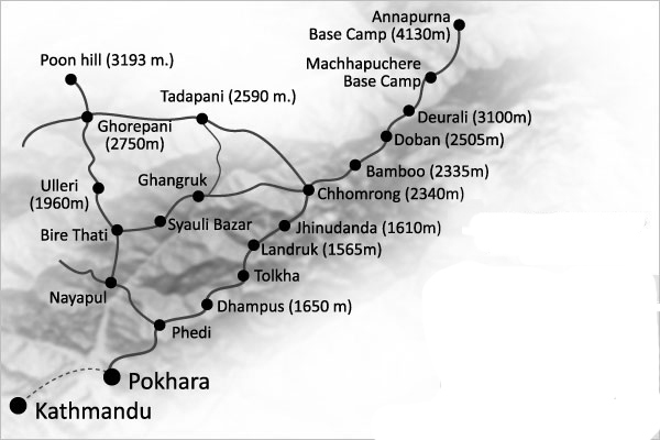 Annapurna Base Camp Trek Trip Map, Route Map