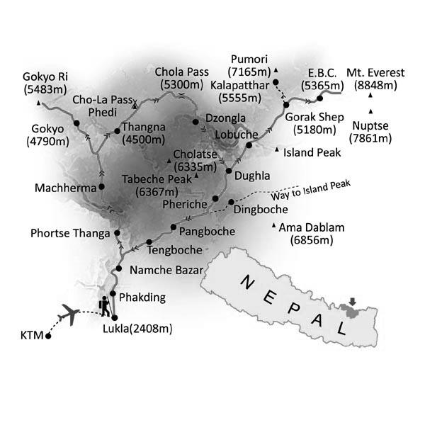Gokyo Chola Pass Trekking Trip Map, Route Map