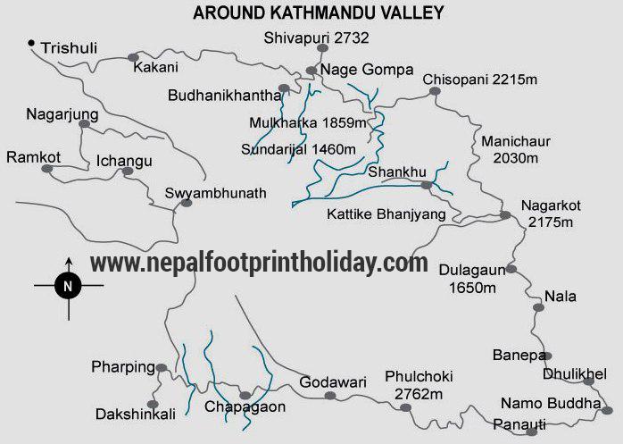 Kathmandu Trekking Trip Map, Route Map