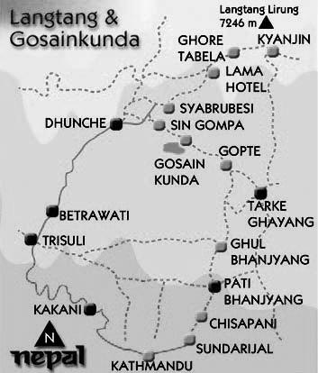 Langtang Gosainkunda Trek Trip Map, Route Map