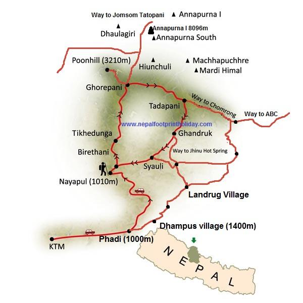 Annapurna Yoga Trek Trip Map, Route Map