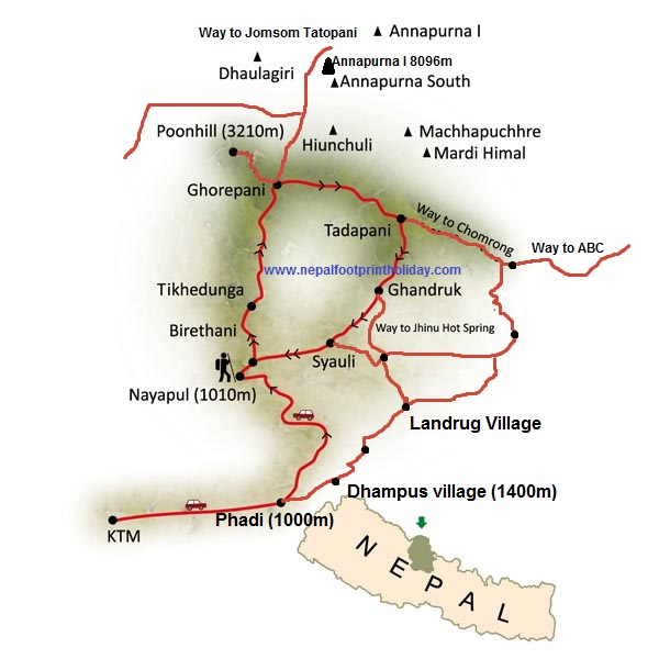 Poon Hill Trek Trip Map, Route Map
