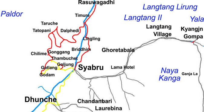 Tamang Heritage Trail Trek Trip Map, Route Map