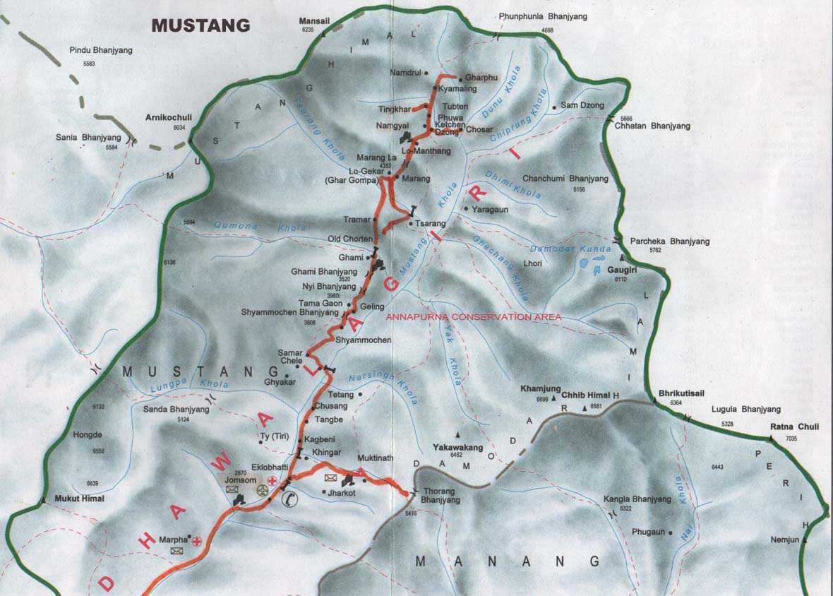 Mustang Overland Tour Trip Map, Route Map