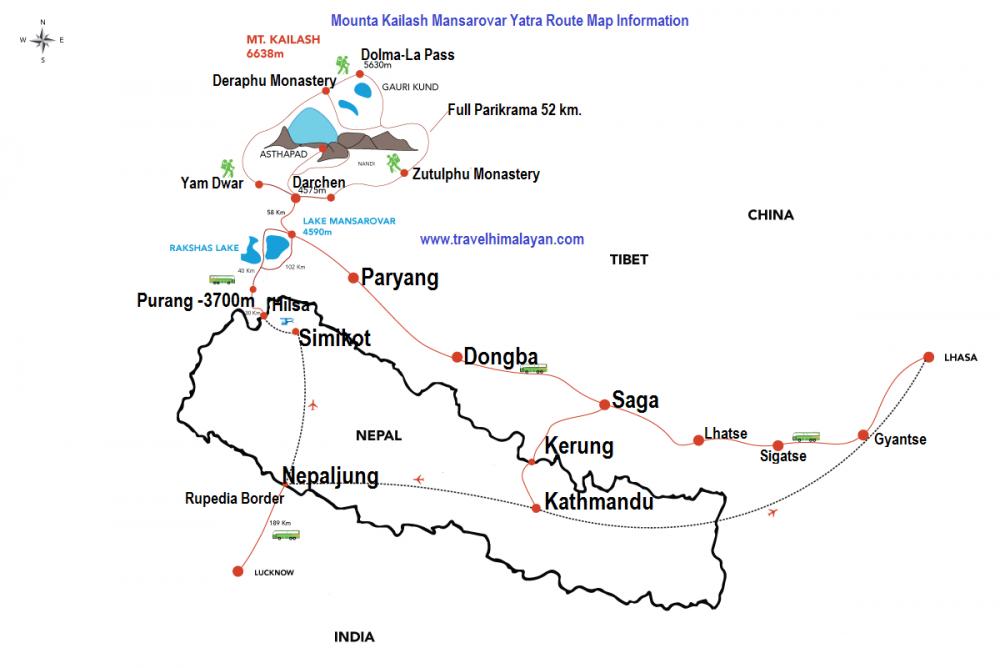 Lhasa Kailash Tibet Trip Map, Route Map