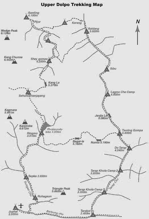 Upper Dolpo Trekking Trip Map, Route Map