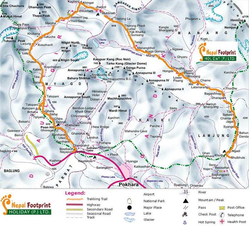 Annapurna Circuit Trek Trip Map, Route Map