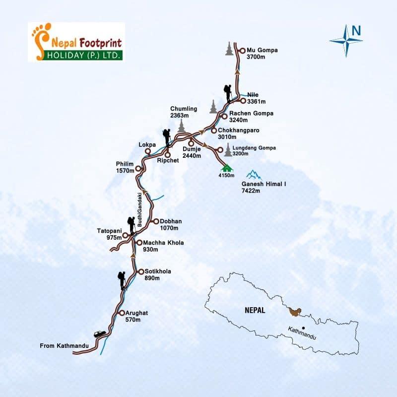 Tsum Valley Trekking Trip Map, Route Map